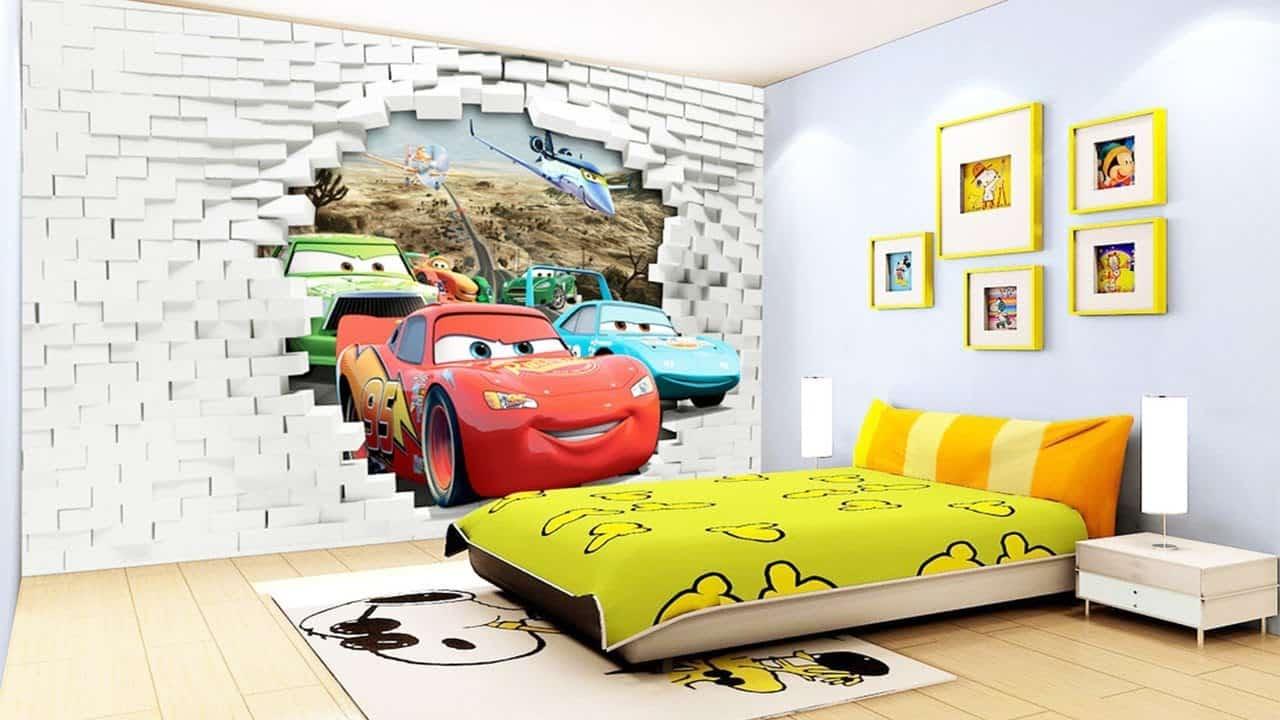 Lợi ích từ tranh tường phòng ngủ với bé, tranh 3d xe hơi