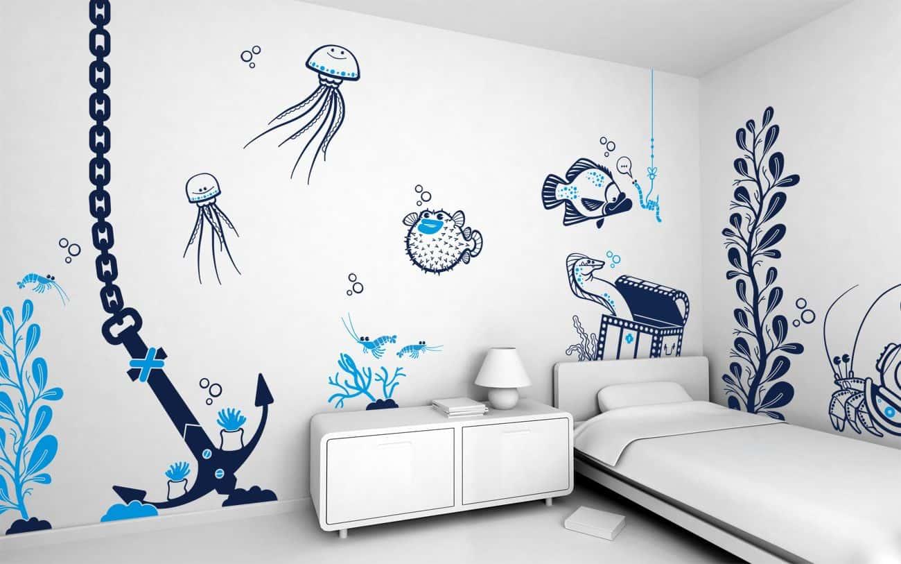 Vẽ tranh tường phòng khách ảnh hưởng bởi không gian