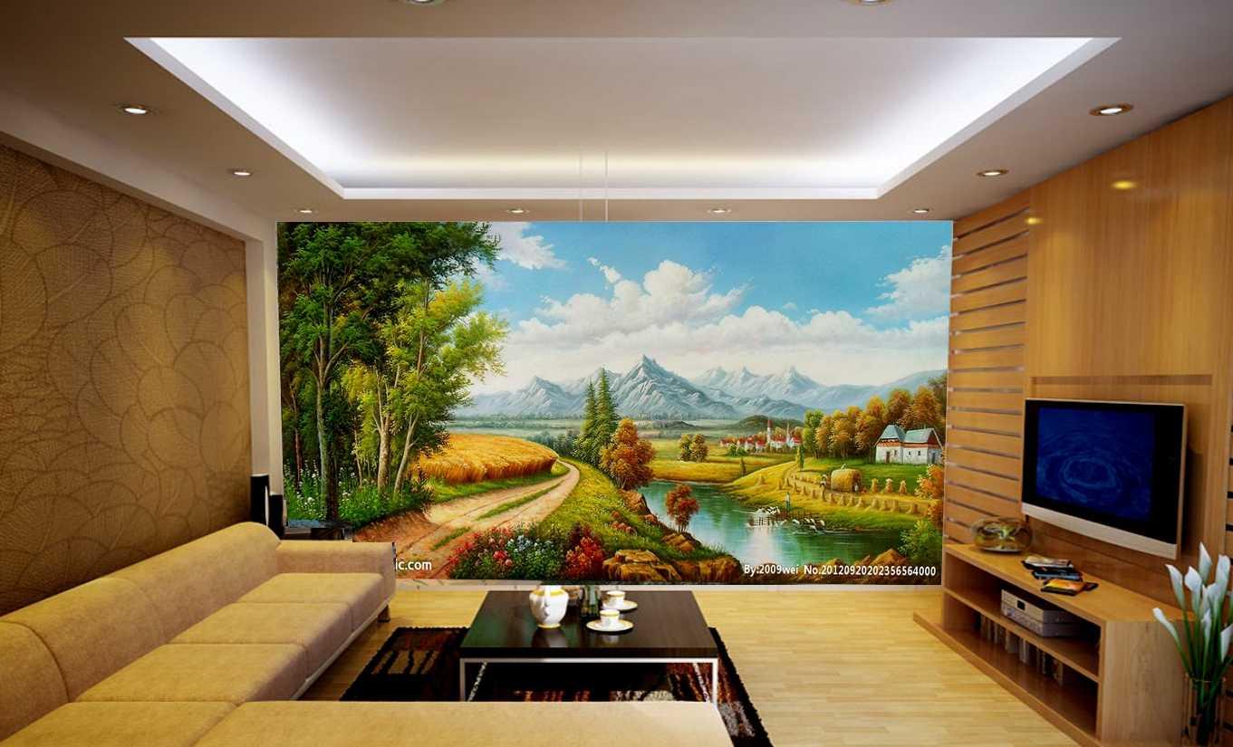 Vẽ tranh tường phòng khách hợp phong thủy
